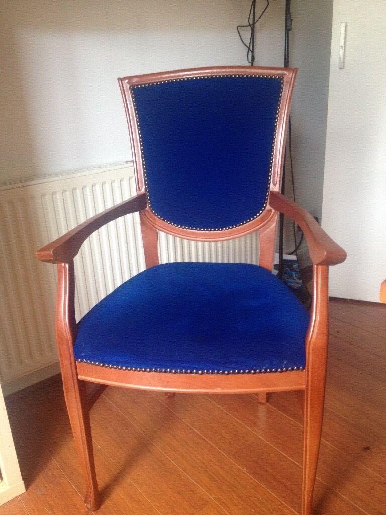 Arm / dining chair Royal blue velvet solid wood | in Bargeddie, Glasgow |  Gumtree