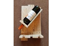 Rustic wooden single bottle wine rack & glasses holder