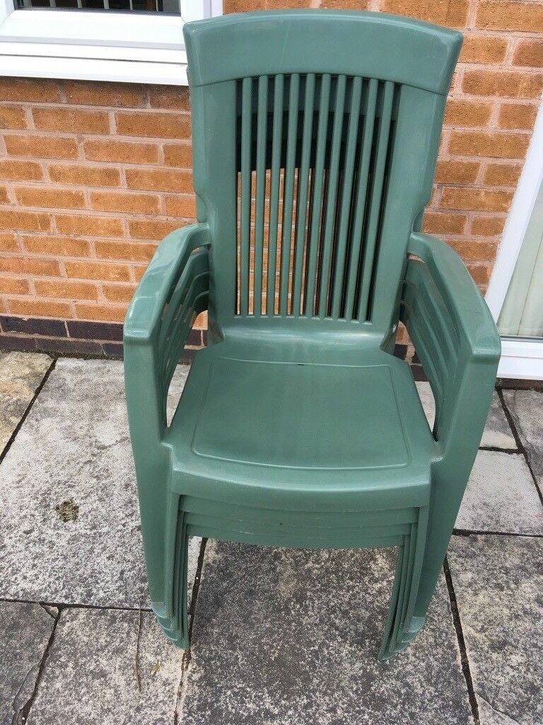 Set Of 4 Sturdy Stackable Green Garden Chairs In Sutton