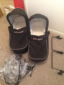 2 x Carry cots for out n about double nipper pram