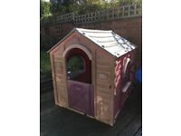 Pink plastic kids play house (for garden)
