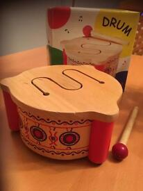 Boxed Pintoy Solid Wooden Toy Drum