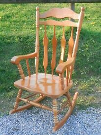 Very large pine rocking chair