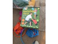 Selection of great games. Inflatable catch, Pumpaloons, play tunnel, hula hoops
