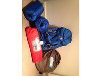Camping set- tent, sleeping bags, aerobed and rucksack