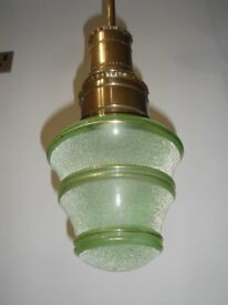 VINTAGE FRENCH PENDANT LIGHT FROSTED GREEN GLASS LIGHT SHADE WITH GOLD 1950/60's