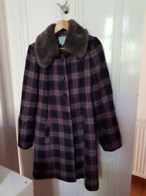 Dickens and Jones Tartan coat with removable artificial fur collar