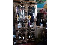 Oriental laquardmother mother of pearl display cabinet forsale