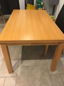 Wooden kitchen/ dining table - fixed size approx 150cm x 90cm