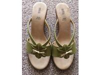 M&S leather wedge sandals size 7 New