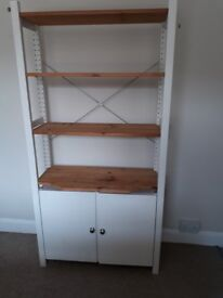 Painted wooden shelving unit