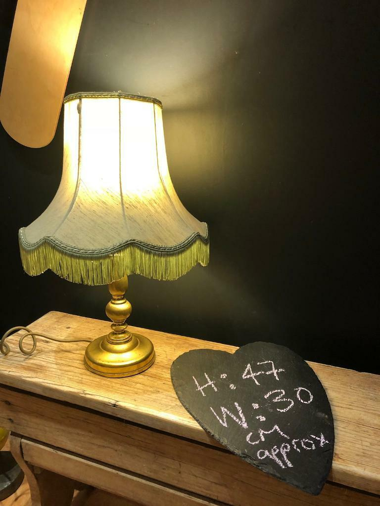 Green and gold lamp lampshade light