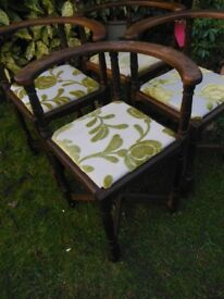 Four vintage corner chairs