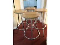 4 Backless Bar Stools - round wooden seat with 4 chrome legs
