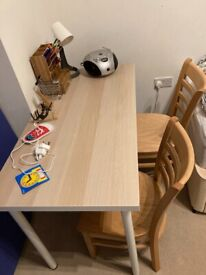 Double desk with 2 kids chairs