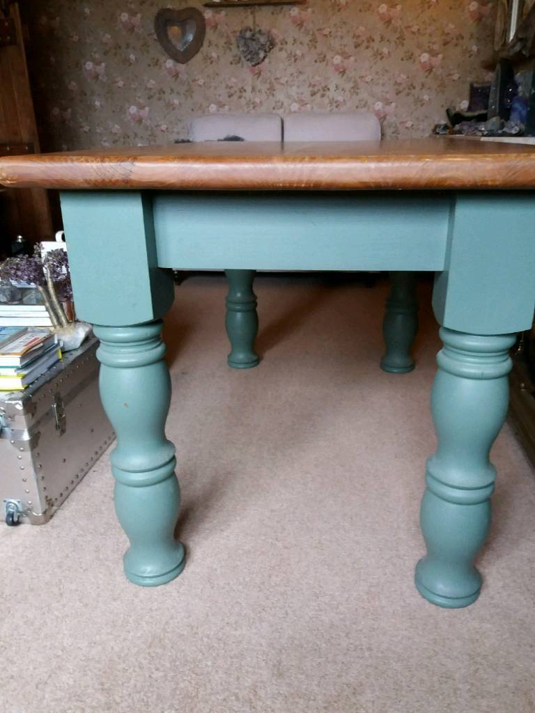 Kitchen/dining table farmhouse style pine solid wood legs remove for ...