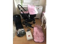 Bugaboo cameleon 3 pale pink or unisex cream fabric set