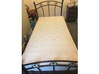 footbal black metal bed with mattress