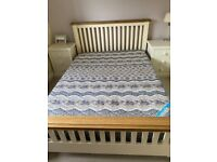Oak and cream painted double bed frame AND two cream painted side tables