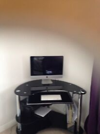 Glass corner desk with internal shelves , dimensions are height 73cm x width 100cm and depth 22cm