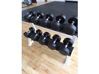 Jordan Rubber Dumbbell Set & Rack