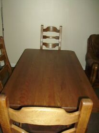 Dutch Solid Oak Table and 4 Chairs. Solid Oak not veneer.