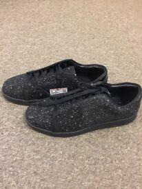 Brand New Men's Black Glittery Plimsolls