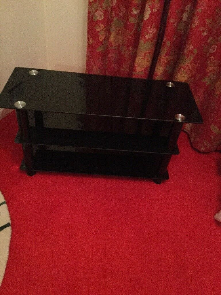 Black Glass 3 Tier TV. Stand for 40-42 inch TV