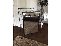 Giant black wrought iron mirror