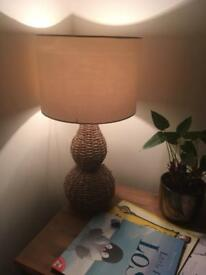 Cream and rattan lamp