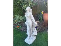 Large stone garden flower garland lady statue. New