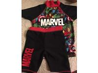 Superhero Marvel Swimsuit Scuba Size 4-5 Swimwear Swim Shorts Top Boys