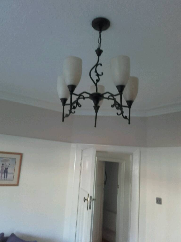 Matching set of two wall lights and centre five arm ceiling light