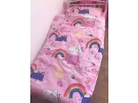 Toddler bed with matress and bedding