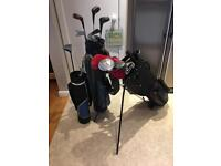 Large bundle golf clubs, bags, kids set.