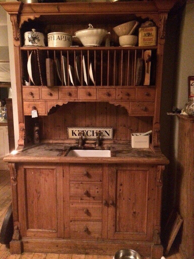 Solid pine kitchen dresser with Belfast sink