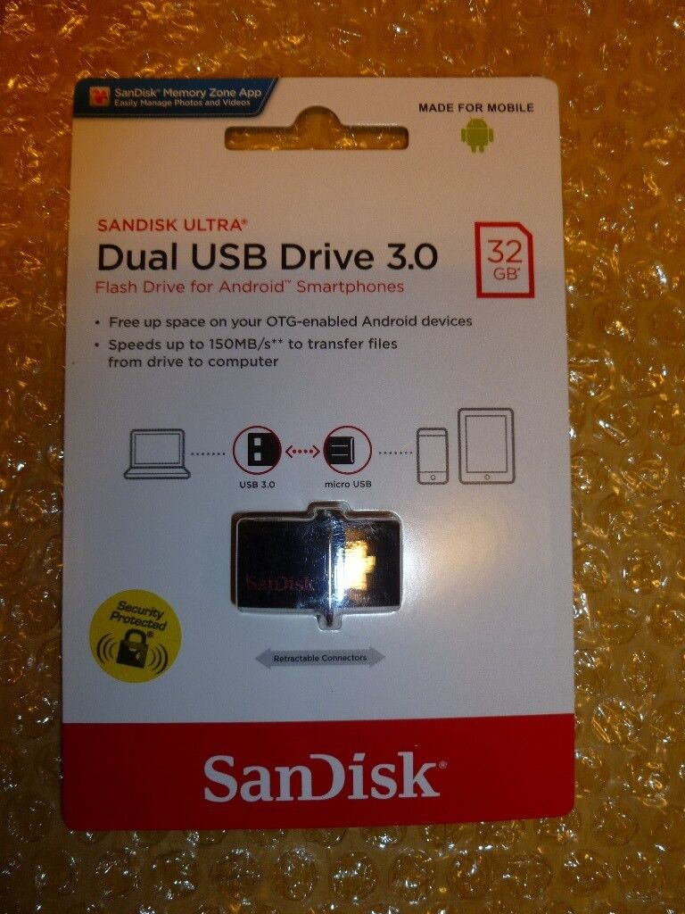 New Factory Sealed Sandisk 32gb Ultra Dual Usb 30 Smart Phone Otg Tablet Micro 150mb