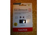 New factory sealed SanDisk 32GB Ultra Dual USB 3.0 (Smart Phone Tablet micro) 150MB/S (2pcs £9 each)