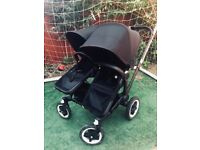 Black Limited Edition Double Bugaboo Donkey with carrycot