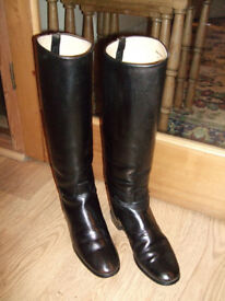 Ladies Black Leather Riding Boots - GT Hawkins UK size 5