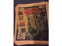 Bundle 66 2000AD Featuring Judge Dredd Comic Book Paper Collectable Programme 80's Vintage Sci-Fi