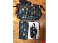 Mothercare change bag with mat and insulated bottle bag