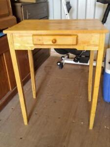 OAKVILLE High Hall Table Light SOLID WOOD White Pine 16x23x30h Side Table Skinny Legs Tall One only Drawer