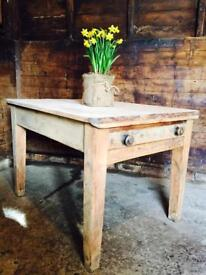 Antique Victorian Farmhouse Kitchen Dining Serving Table