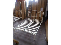Ex-Display Stone White Julian Bowen Miah Double 4FT6 Metal Bed Frame (FREE LOCAL DELIVERY!!!)