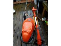 Flymo hover mower and strimmer