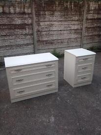 3 drawer chest + 3 drawer bedside cabinet only £35