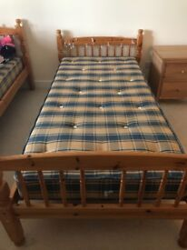 2 x pine single beds with mattress