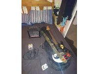 Yamaha pacifica electric guitar, case, leads and amp