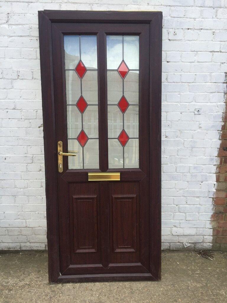 Upvc Brownrosewood Front Door H 205 Cm W 89 Cm In Aston